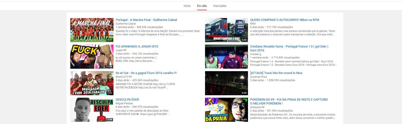 youtube-em-alta